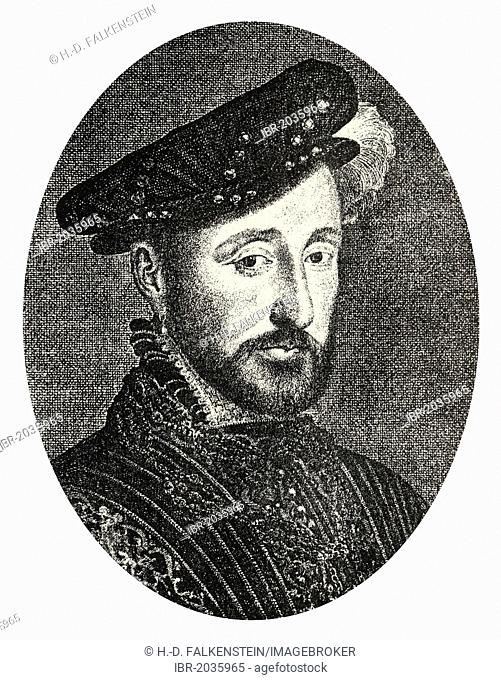 Historical steel engraving from the 19th Century, portrait, Henri II, from the House of Valois-Angoulême, King of France, 16th Century