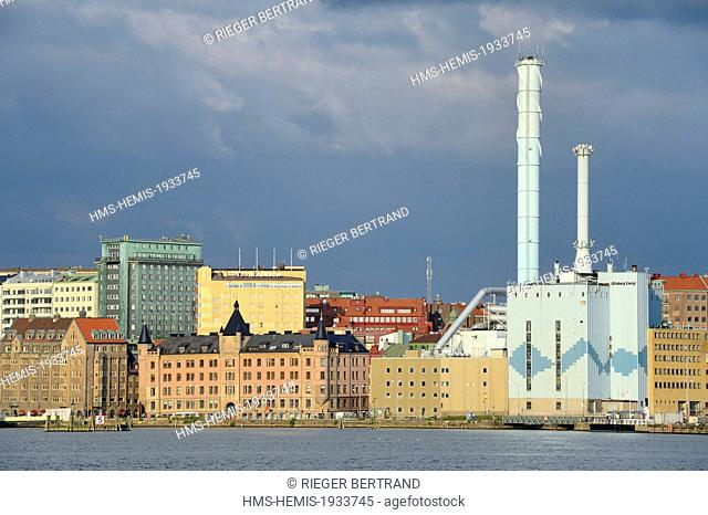 Sweden, Vastra Gotaland, Goteborg (Gothenburg), thermal power plant of the city in the port