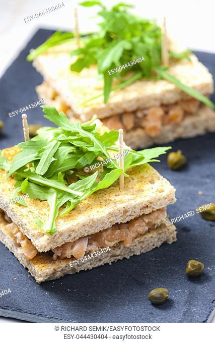 salmon tartare with ruccola