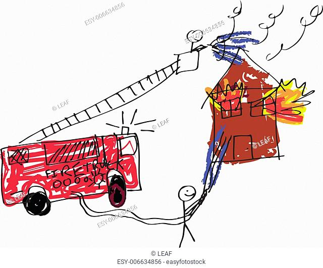 A vector format image of a child like drawing of firemen trying to save a burning house