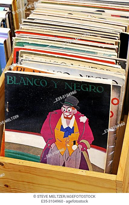An old Spanish racist magazine Blanco Y Negro for sale at a flea market in Pezenas, France