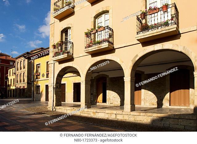 Calle Galiana street in old town, Aviles, Asturias, Spain