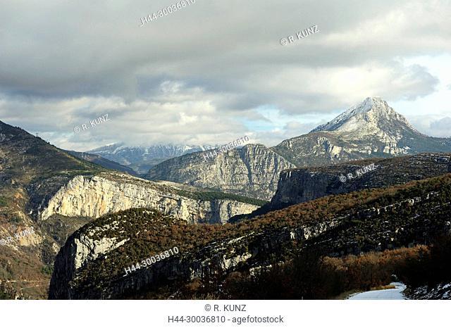 Grand Canyon du Verdon, gorge, mountains, Alps of Haute Provence, Palud-sur-Verdon, winter, snow, Alpes-de-Haute Provence department, Provence, France