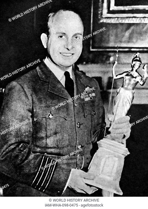 Air Commodore Edward 'Teddy' Mortlock Donaldson (1912 – 1992). Royal Air Force (RAF) flying ace of the Second World War, and a former holder of the airspeed...