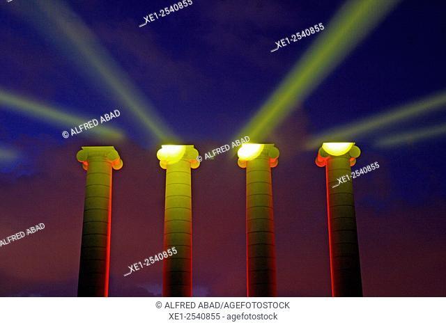 Night lighting of Les Quatre Columnes of Josep Puig i Cadafalch, Montjuic Park, Barcelona, Catalonia, Spain