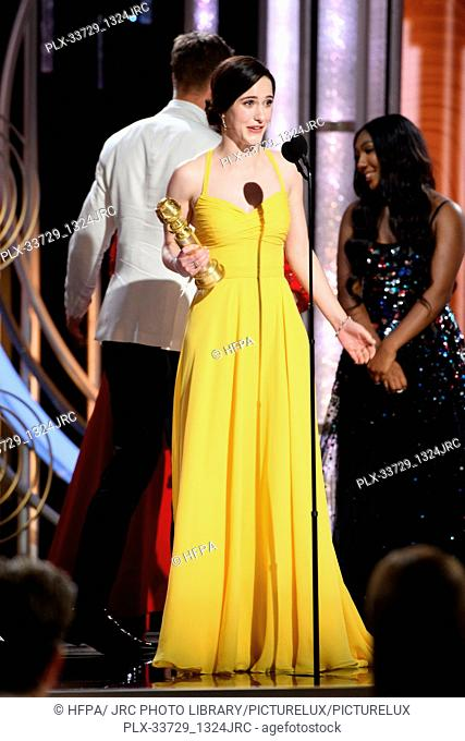 "Rachel Brosnahan accepts the Golden Globe Award for BEST PERFORMANCE BY AN ACTRESS IN A TELEVISION SERIES – MUSICAL OR COMEDY for her role in """"The Marvelous..."
