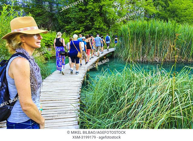 Wooden path. Plitvice Lakes National Park. Croatia, Europe