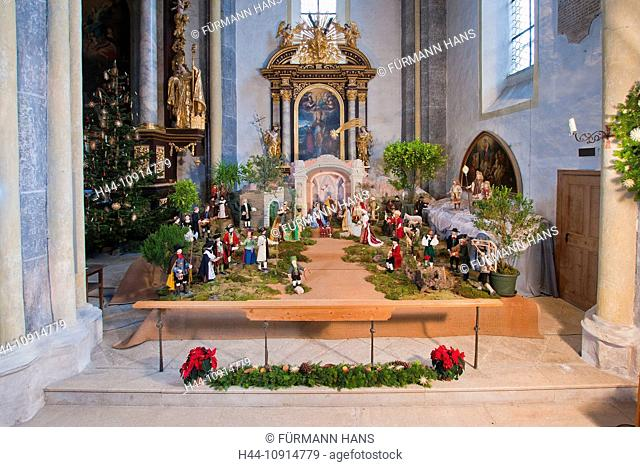 Europe, Germany, Bavaria, Upper Bavaria, Berchtesgaden county, Rupertiwinkel, Rupertiwinkl, baroque, baroque cradle, moss, limb doll, limb dolls, limb cradle
