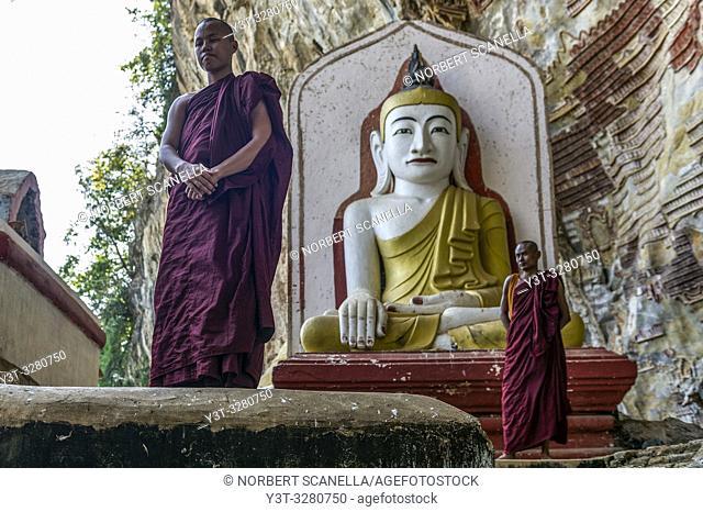 Myanmar (formerly Burma). Kayin State (Karen State). Hpa An. Kaw Gon (Kaw Goon) cave, dated 7th century