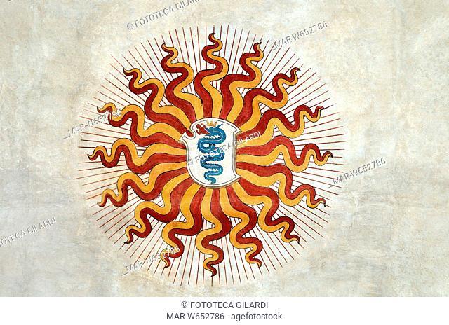 ARALDICA Stemma visconteo raffigurante il biscione che divora un bambino, di sfondo la -raza viscontea-, il sole splendente
