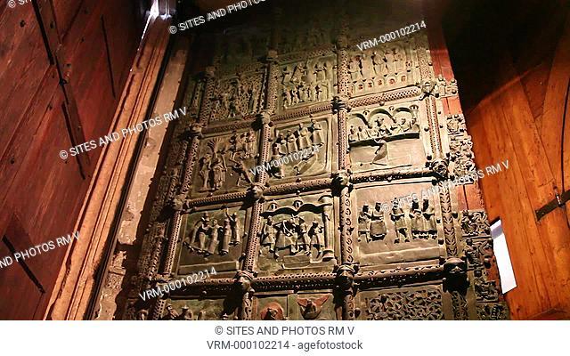 Interior, LA, CU, TILT down, view of the 12th-century Basilica of San Zeno Maggiore. Seen is the interior doors of the main portal