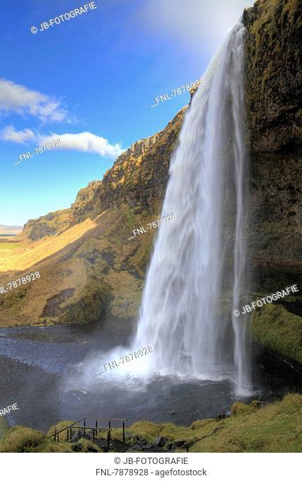 Headline: Waterfall Seljalandsfoss from Eyjafjallajökull glacier, Iceland, Europe