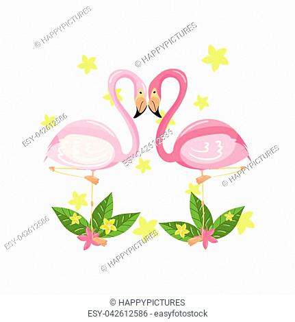 Pink flamingo couple, love, family concept, exotic tropical birds vector Illustration isolated on a white background
