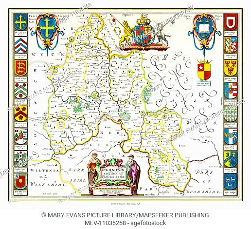 Map of Oxfordshire by Johan Blaeu