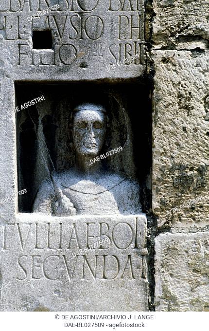 Bas-relief, detail of the entrance to Trieste Cathedral (Saint Justus Cathedral), originally a Roman propylaea, Trieste, Friuli-Venezia Giulia, Italy
