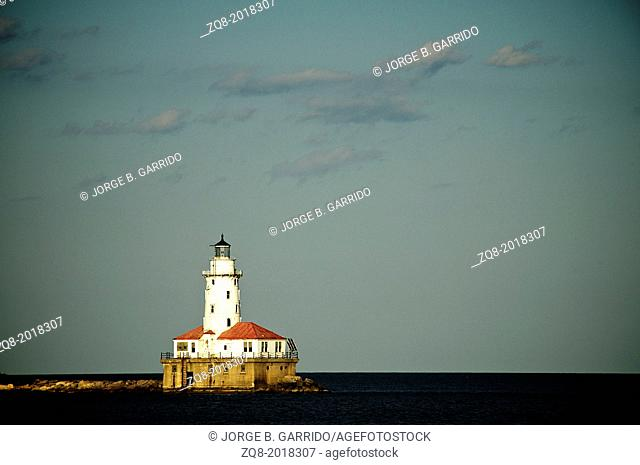 Light House of Chicago in Lake Michigan with cloud and blue sky