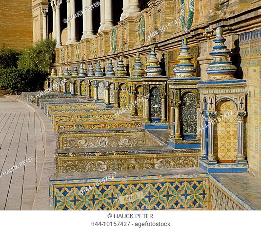 10157427, Spain, Europe, Andalusia, Seville, Plaza de Espana, detail, painted niches