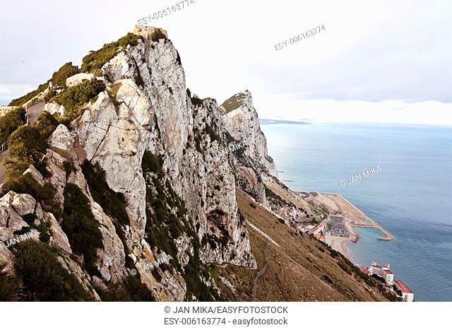 Peak of The Rock of Gibraltar Landscape photo of The Rock in Gibraltar with cloudy sky