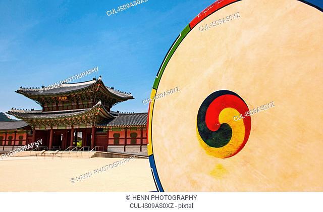 Korean drum at the entrance of Gyeongbok Palace in Seoul, South Korea
