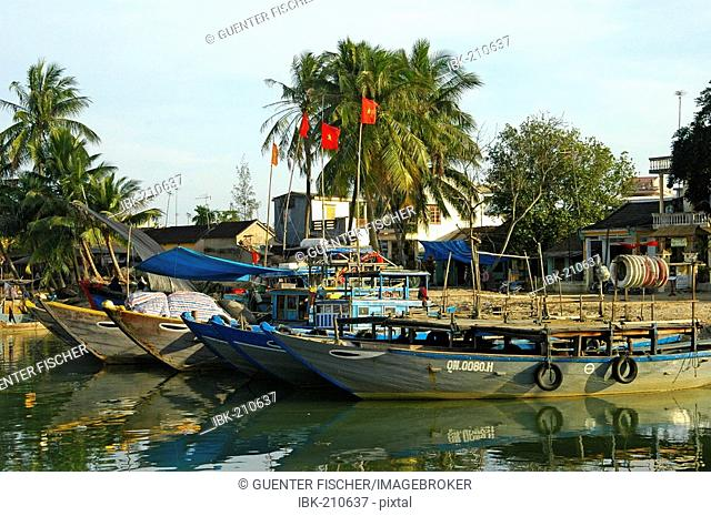 Boats in the harbour of Hoi An, Vietnam