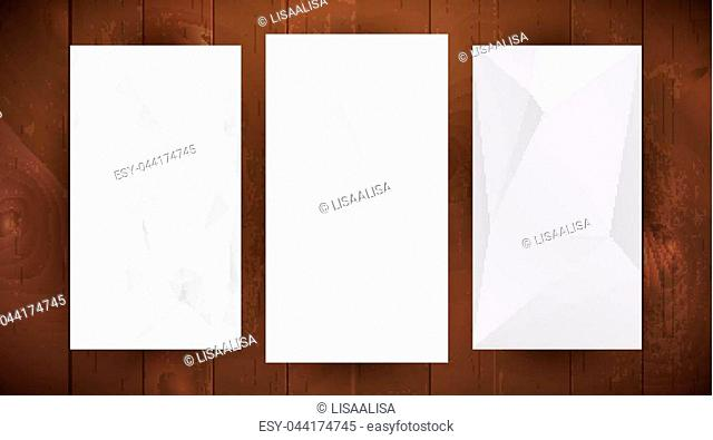 Set of tree white wrinkled paper on dark wooden background, triangular illustration