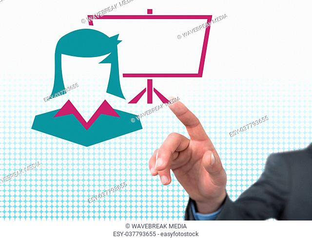 Hand pointing with businesswoman and screen icon