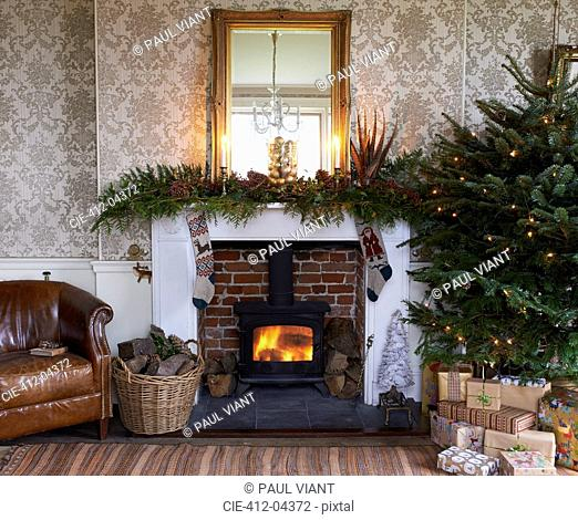 Christmas tree and fireplace in living room
