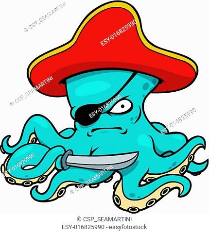 Blue octopus pirate