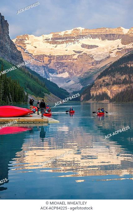 Canoes at Lake Louise, Banff National Park, British Columbia, Canada