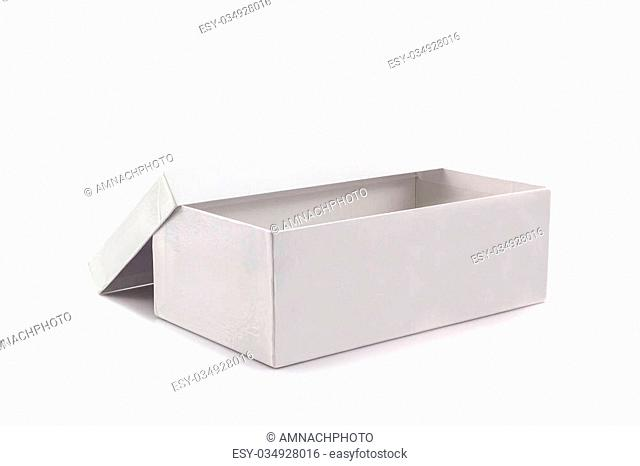 White shoe box on white background with clipping path. For shoes, electronic device and other products