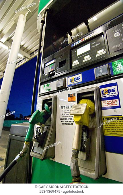 Fuel pumps for E85 ethanol and B99 biodiesel at retail gasoline station in Tucson Arizona