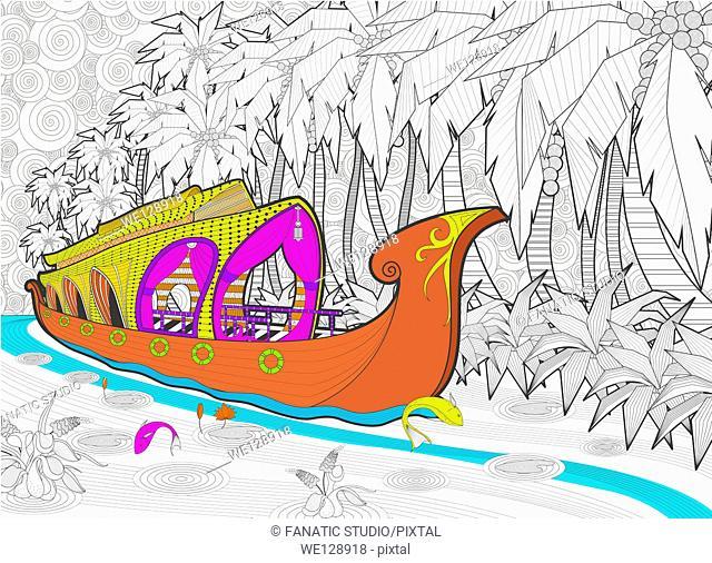 Illustration of houseboat in Kerala, India