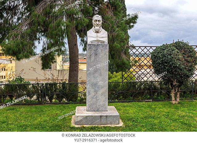 Italian abbot Rocco Pirri bust in park in Noto town, Province of Syracuse on Sicily Island in Italy