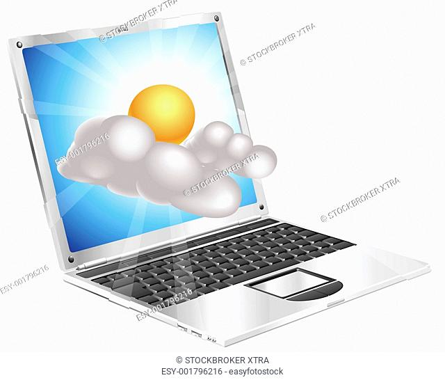 Weather sun and cloud icon coming out of laptop screen concept