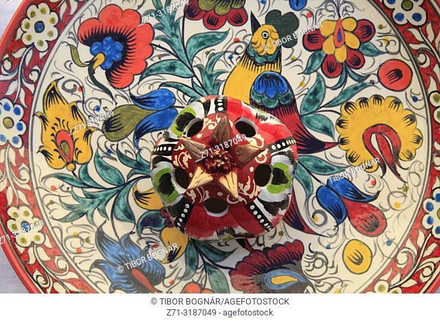 Uzbekistan, Khiva, painted ceramic plate, handicraft,