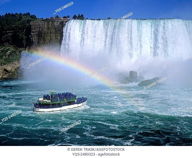 North America Canada Ontario Niagara Falls Horseshoe Falls Maid Of The Mist tour boat