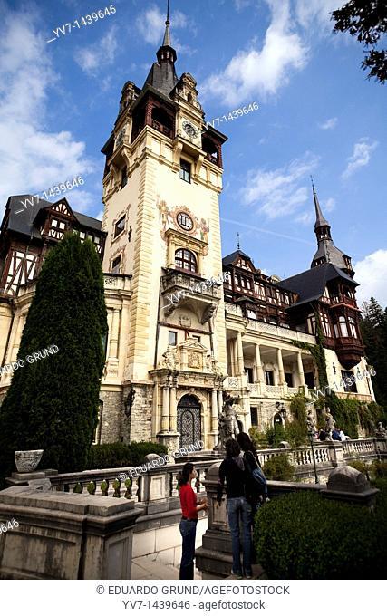 Main facade of the Peles Castle  Sinaia, Transylvania, Romania, Europe