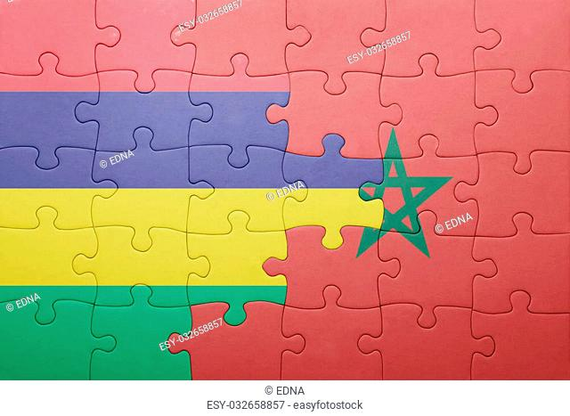 puzzle with the national flag of morocco and mauritius . concept
