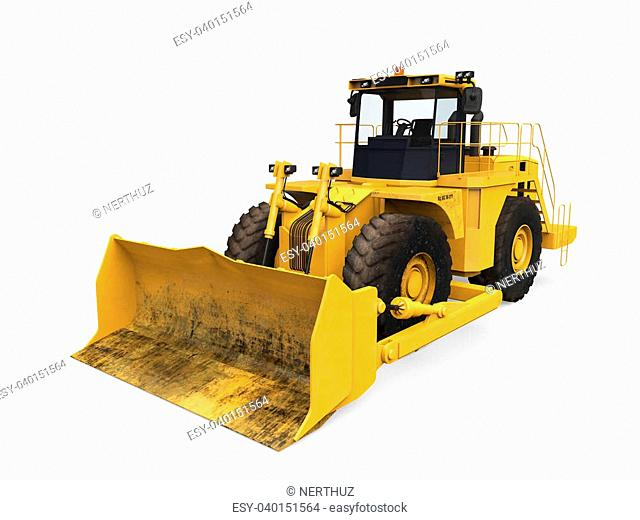 Yellow Bulldozer isolated on white background. 3D render