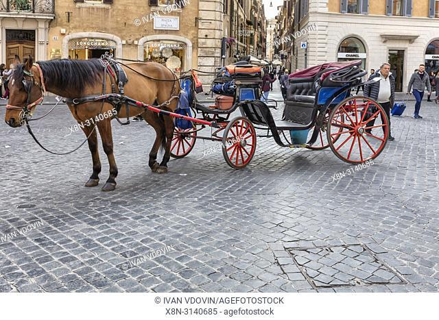 Horse carriage, Piazza di Spagna, Rome, Lazio, Italy