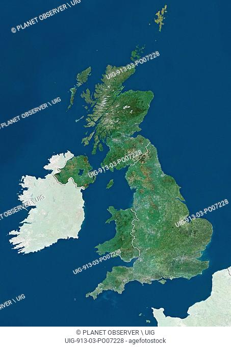 Satellite view of the United Kingdom (with country boundaries and mask), that shows England, Wales, Scotland and Northern Ireland