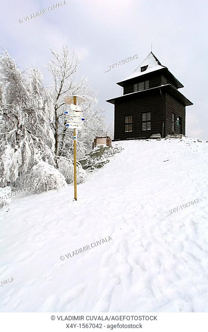 The wooden observation tower on the summit of Sitno, the highest peak in Stiavnicke vrchy, Slovakia
