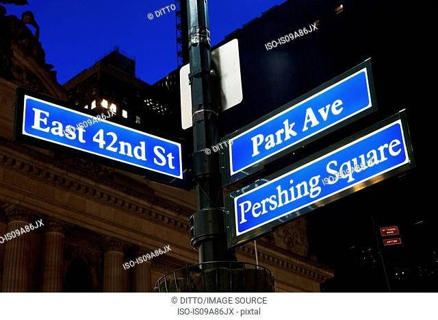 East 42nd Street and Park Avenue signs, New York City, USA