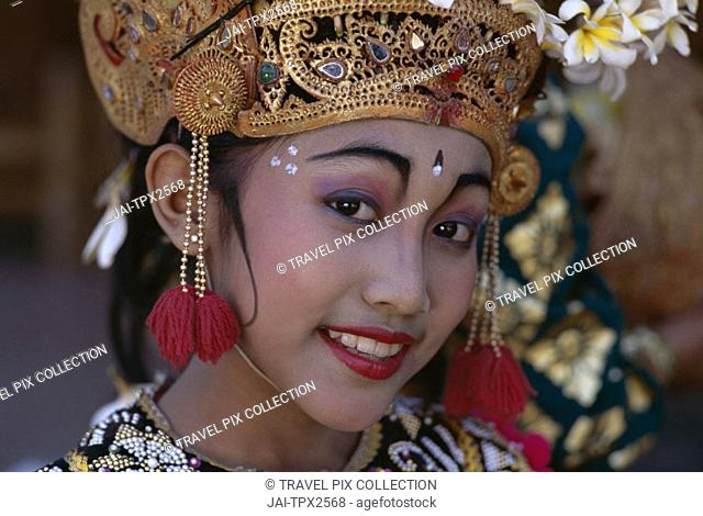 Legong Dancer / Girl Dressed in Traditional Dancing Costume / Portrait, Bali, Indonesia