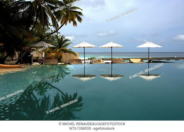 Maldives, Huvafen Fushi Per Aquum Resort, Bar et Piscine