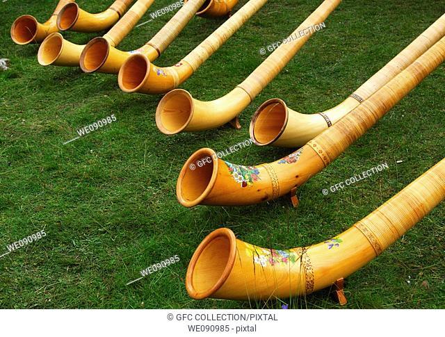 Swiss Alphorns at a Swiss folk festival, Valais, Switzerland