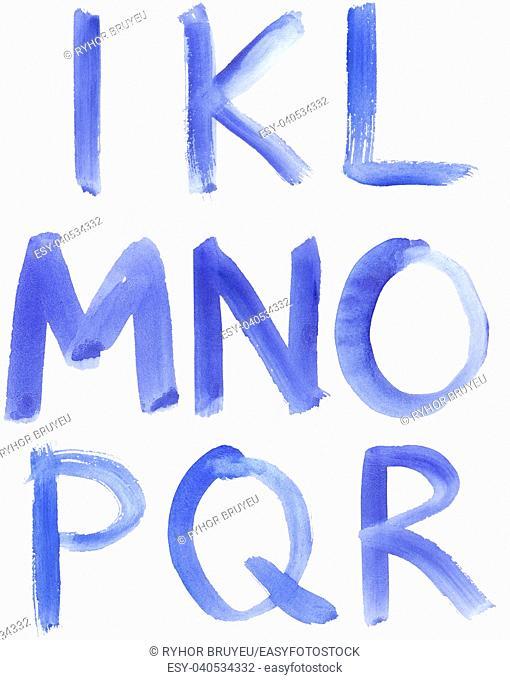 Handwritten Blue Watercolor ABC Alphabet / Painted Blue Watercolor Alphabet, Isolated. Letters I, K, L, M, N, O, P, Q, R
