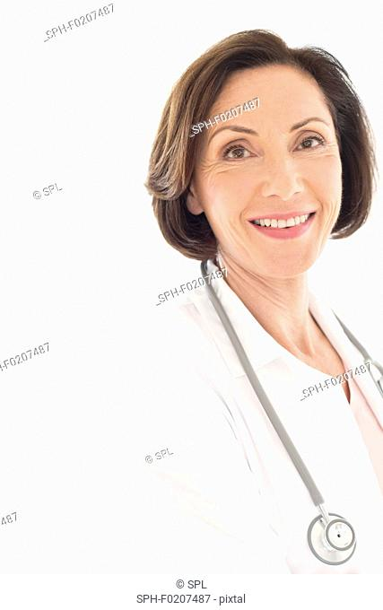 Senior female doctor smiling