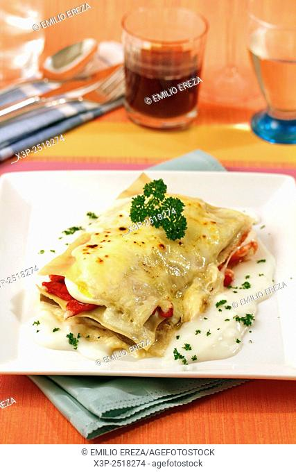 Lasagna with aubergines and peppers