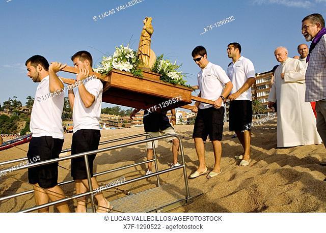 Lloret de Mar  Lloret beach  Santa Cristina festival  Maritime procession of Santa Cristina  Costa Brava  Girona province  Catalonia  Spain